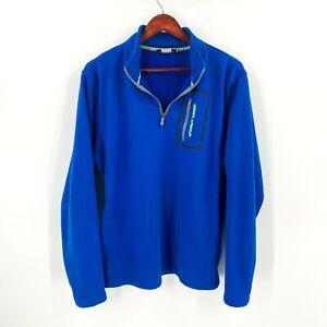 Under-Armour-Size-L-Large-Blue-Super-Soft-Fleece-1-4-Zip-Pocket-Sweater-Men-039-s