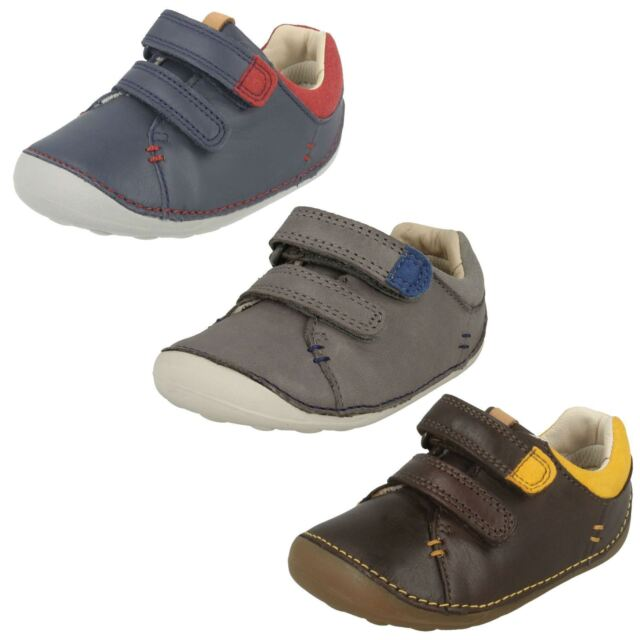CLARKS TINY TOBY BOYS BABIES PRE WALKING RIPTAPE CASUAL FLAT LEATHER FIRST SHOES