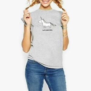 Women-Shirts-Cartoon-Unicorn-Letter-Print-T-shirt-Short-Sleeve-Tee-Tops-JJ