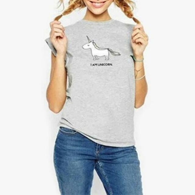 Women Shirts Cartoon Unicorn Letter Print T-shirt Short Sleeve Tee Tops JJ