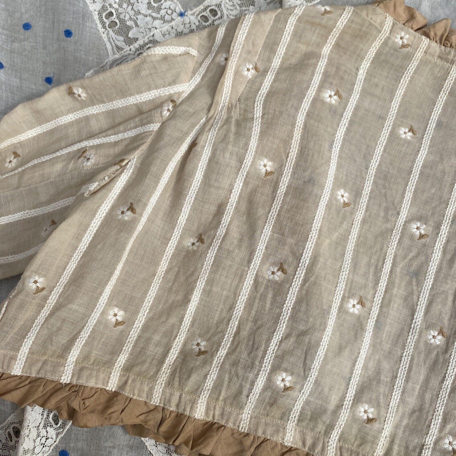 Antique Edwardian Ecru Cotton Blouse Top Embroide… - image 11