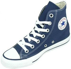 Converse Chuck Taylor Hi Navy Blue White Mens Womens Canvas Shoes ... 928d31bf6e