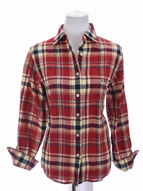 Lauren Ralph Lauren damen 100% Linen Button Up Shirt Top Plaid Print Sz Medium