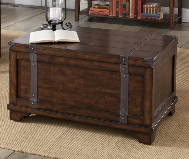 Storage Trunk Chest Coffee Table Cedar Tail Accent Top Toys Blanket Wood Oak