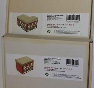 2x-DM-Toys-Laser-Cut-803-Geschaeftshaus-Nr-3-und-802-Nr-2-Spur-N-1-160-Neu-OVP