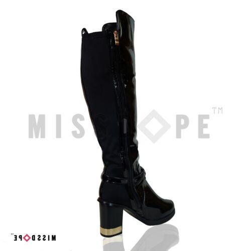 talon bottes noires noires brevetᄄᆭes Chaussures pour femmes cuisse Nouvelles mᄄᆭtallique ᄄᄂ XiwZOTkPu