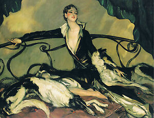 ART DECO LADY WITH HER BORZOI DOGS. A3 SIZE PHOTO PRINT.