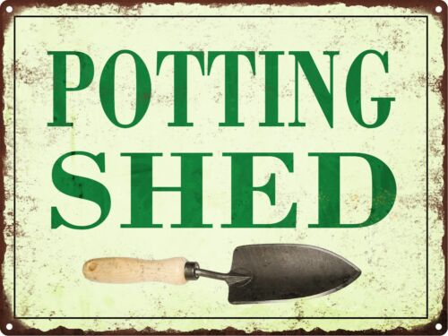 Potting Shed Metal Sign Vintage Look Rustic Garden Flowers Retro 9x12 SS42