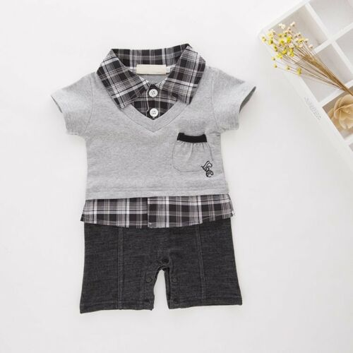 Baby Boy Formal Party Everyday Casual Suit Outfit Romper Clothes NEWBORN 0-18M