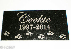 """6"""" x 3"""" Name & Date Pet Memorial GRANITE Grave Marker Stone With Small Paws"""