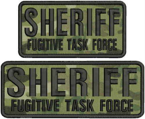 SHERIFF FUGITIVE TASK FORCE EMB PATCH 3X6 AND 3X8 HOOK ON BACK MULTICAM//BLK