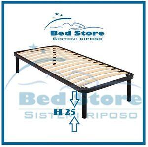 Rete letto singola 100x190 piedi h 25 ferro con doghe multistrato per materasso ebay - Piedi per rete letto ...