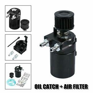 Oil-Catch-Reservoir-Breather-Can-Tank-Filter-Kit-Cylinder-Aluminum-Engine-BLACK