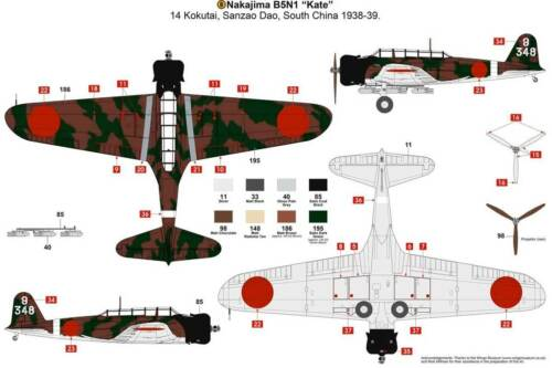 Airfix Nakajima B5N1 Kate Pearl Harbor Koku Sentai Kokutai 1:72 Bausatz NEU kit