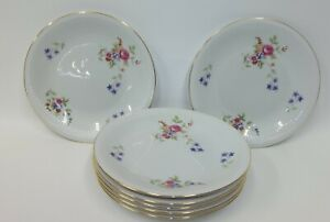 Wtoctawek-Poland-Porcelana-Ribbed-Floral-Dinnerware-6-3-4-034-Plates-Set-of-7
