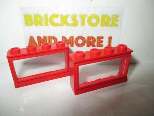 2x Window Fenêtre Finestra 1x4x2 453 Red//Rouge//Rot Lego