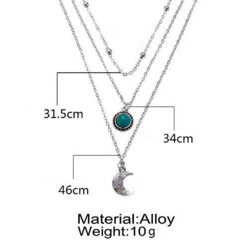 Women Fashion Boho Multi-layer Choker Necklace Turquoise Moon Chain Jewelry
