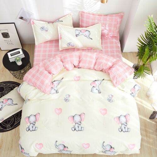 Cartoon Elephant Print Beige Duvet Cover 3PCS Twin Full For Kid/'s Summer Bedding
