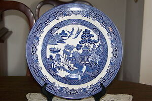 Image is loading Churchill-China-Made-in-England-Willow-Blue-10- & Churchill China - Made in England - Willow Blue - 10 3/8-inch Dinner ...