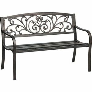 Surprising Details About Vintage Cast Iron Outdoor Patio Garden Bench Mosaic Powder Coated With Back Blac Ocoug Best Dining Table And Chair Ideas Images Ocougorg
