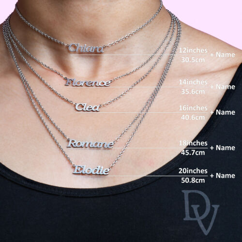 Personalised Any Name Necklace Chain Denise Nameplate Pendant Stainless Steel