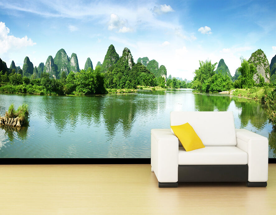3D  Green lake,hills 33 Wall Paper Print Wall Decal Deco Indoor Wall Murals