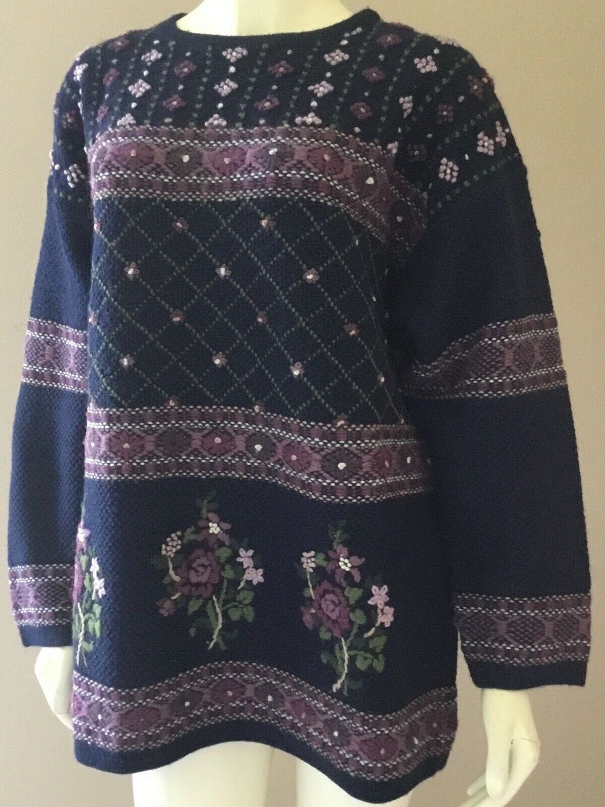 Vintage Laura Ashley 90s Floral 100% Wool Embroid… - image 2