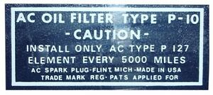 DB0193 1949 1950 BUICK (ALL MODELS) OIL FILTER INSTRUCTIONS DECAL STICKER PF-127