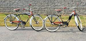 Pair Of Vintage Schwinn His And Hers Black Phantom Bicycles 1952 & 1953