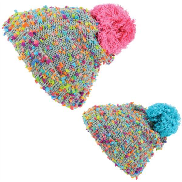 bae45a1874fd3e Beanie Hat Cap Warm Winter RAINBOW FLECK Childrens Soft Chunky Bobble  Hawkins