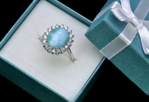Larimar Genuine 100/% Natural Blue 10X12mm Oval 925 Sterling Silver Ring Size 6