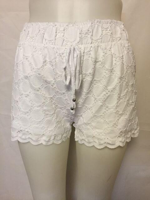 584008284e J Valdi White Drawstring Dot Lace Shorts Swimsuit Cover up S for ...