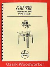Walker Turner 1100 Series Radial Drill Operators Amp Parts Manual 0740