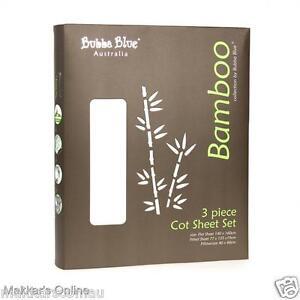 Bubba Blue BAMBOO 3 Piece Cot Sheet Set