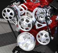 SBC Serpentine Front Runner Pulley Drive Kit Polished/Chrome A/C Alternator P/S