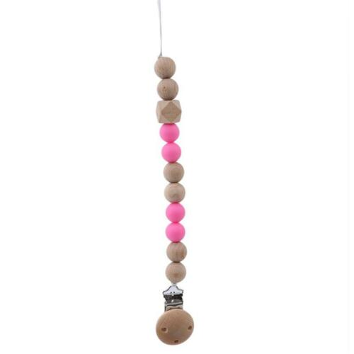 Wood Beaded Clip Nipple Teether Dummy Strap Chain Infant Baby Pacifier Holder W