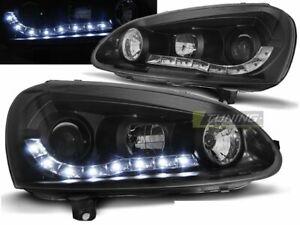 Coppia-di-Fari-Anteriori-LED-DRL-Look-per-VW-GOLF-5-V-Daylight-Neri-IT-LPVW99-ED