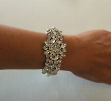 Classic ivory pearl rhinestone cuff bracelets bridal weddings prom ballroom