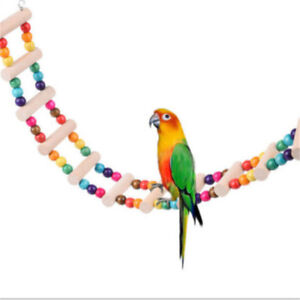 Bird-Swing-Wooden-Bridge-Ladder-Climb-Cockatiel-Parakeet-Budgie-Parrot-Pet-FSK