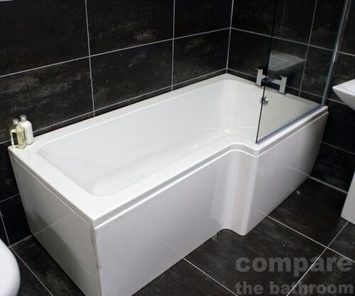1700mm L Shape Showerbath Front Panel Right Hand Bath Screen