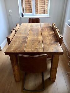 Image Is Loading Chunky Solid Wood Beam Dining Table 2 034