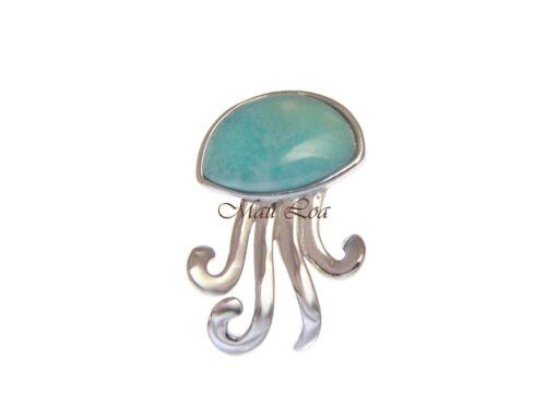 925 Sterling Silver Hawaiian Jellyfish Natural Blue Larimar Pendant Charm