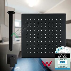 8-034-Full-Brass-Black-shower-head-400mm-Ceiling-Extention-Dropper-Mixer-Tap-Set