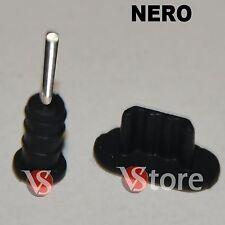 2 Stopper Per iPhone 5-5S-5C /iPod 5/iPad 4 e Mini iPad Anti Polvere NERO