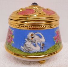 SWAN LAKE Ceramic MUSIC BOX Trinket Jewelry HOLDER Franklin Mint Ballet Dance