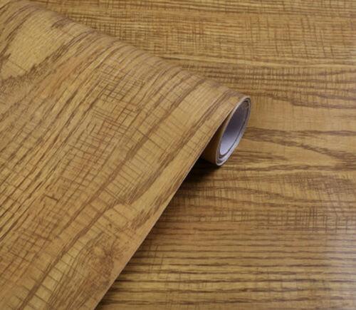Waterproof Self-adhesive Wallpaper Furniture Cabinet Wood Grain Sticker #C