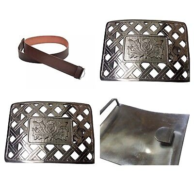 New Scottish Leather Kilt Belt and Buckle for kilts