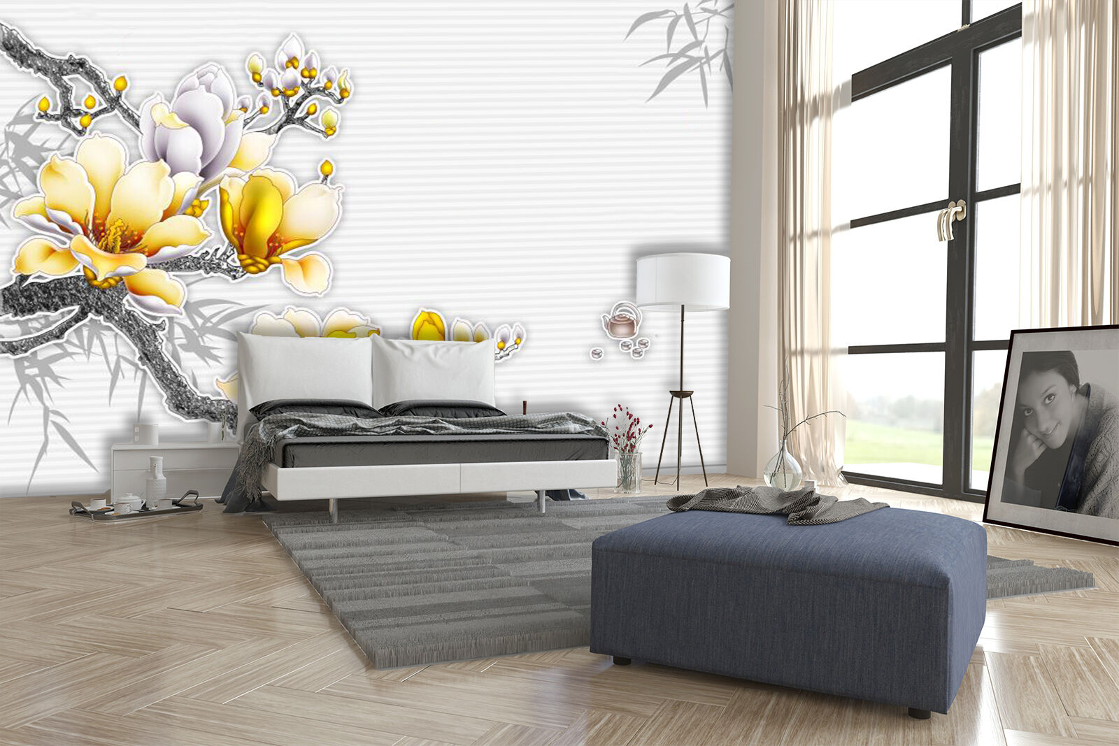 3D Flower Gelb 4534 Wall Paper Wall Print Decal Wall Deco Indoor Wall Murals