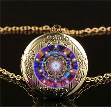 Stargate Mandala Photo Cabochon Glass Gold Plating Locket Pendant Necklace