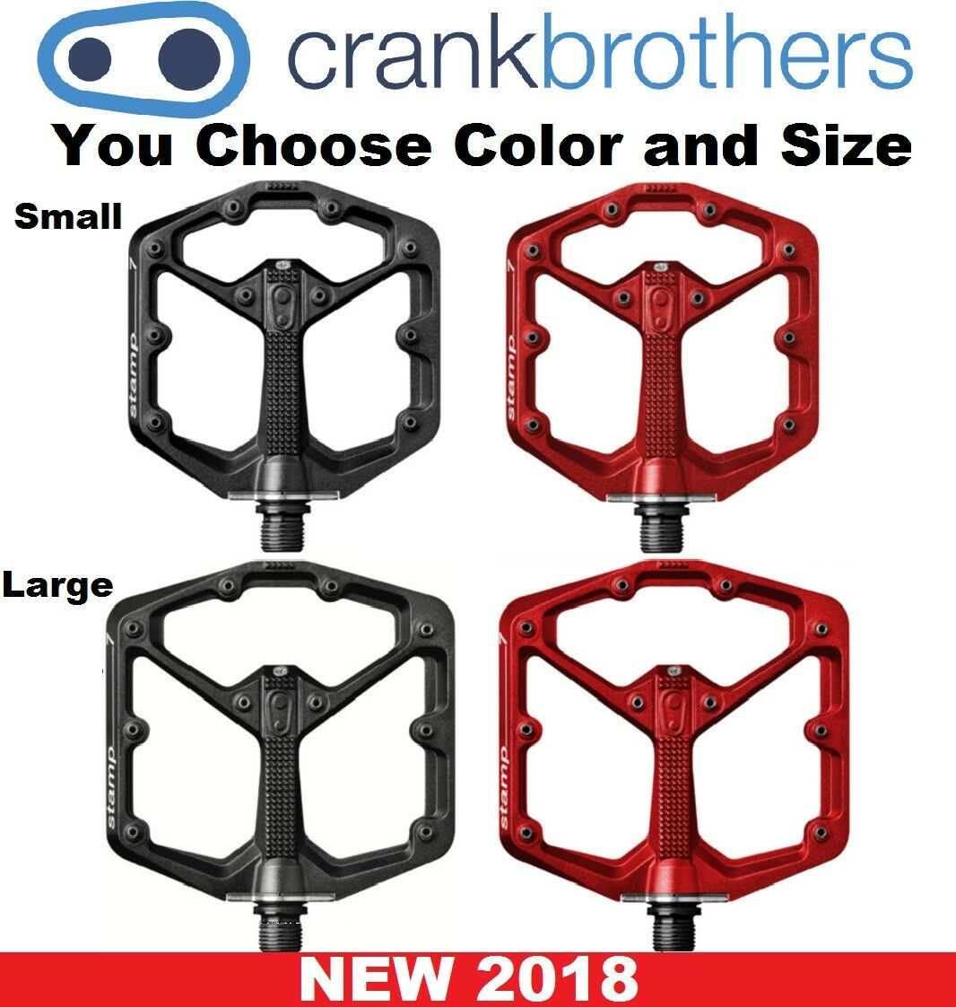 Crank Bredhers NEW Stamp 7 Size & color Bike Downhill Platform MTB Flat Pedals